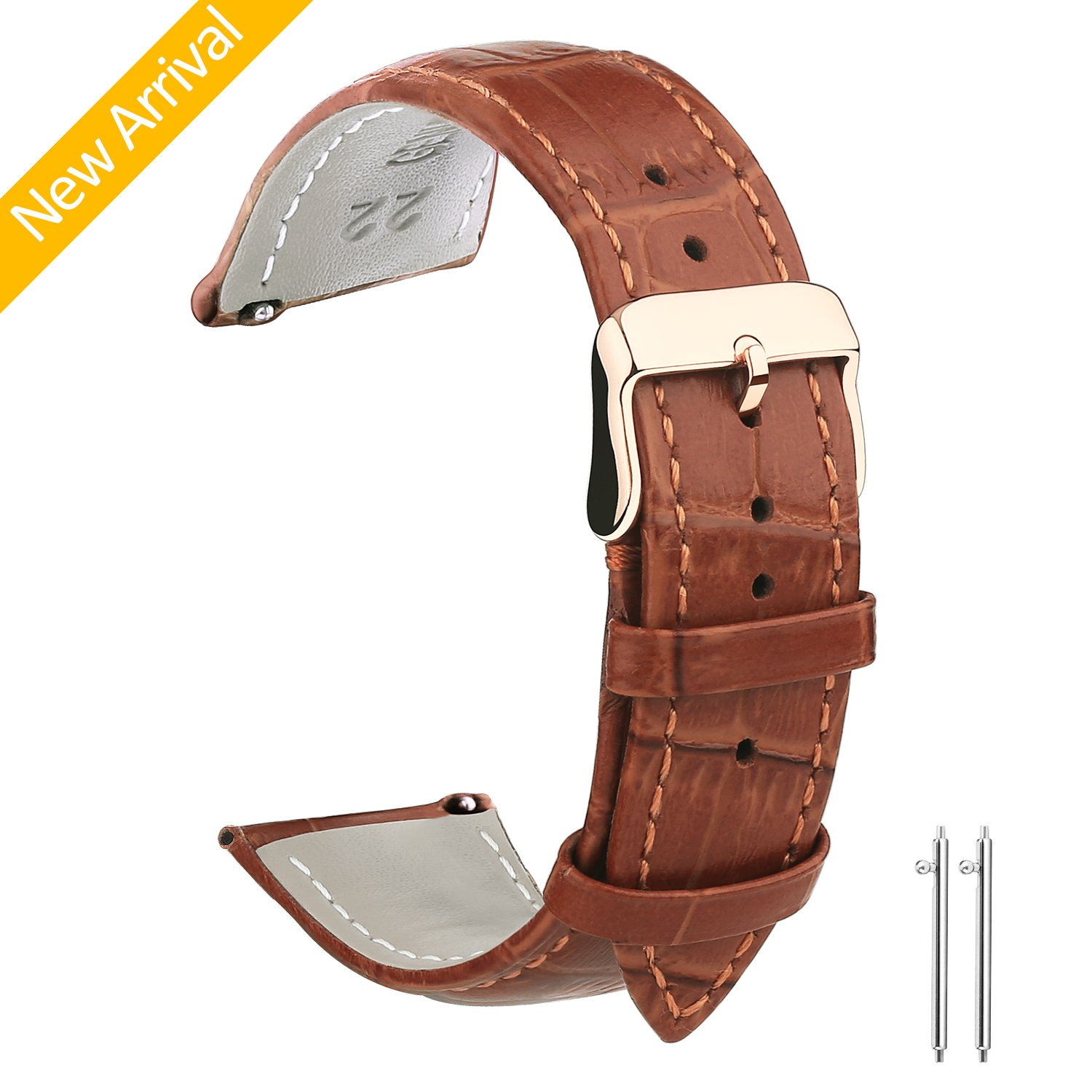 Vetoo 22mm/20mm Watch Bands Leather, Quick Release Classic Genuine Leather Replacement Watch Strap Wristband for Men and Women (Light Brown & Rose Gold)