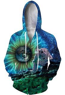 ab4566cc0edf1f Goodstoworld Unisex 3D Zip Hoodie Novelty Printed Sweatshirt with Big  Pockets S-2XL