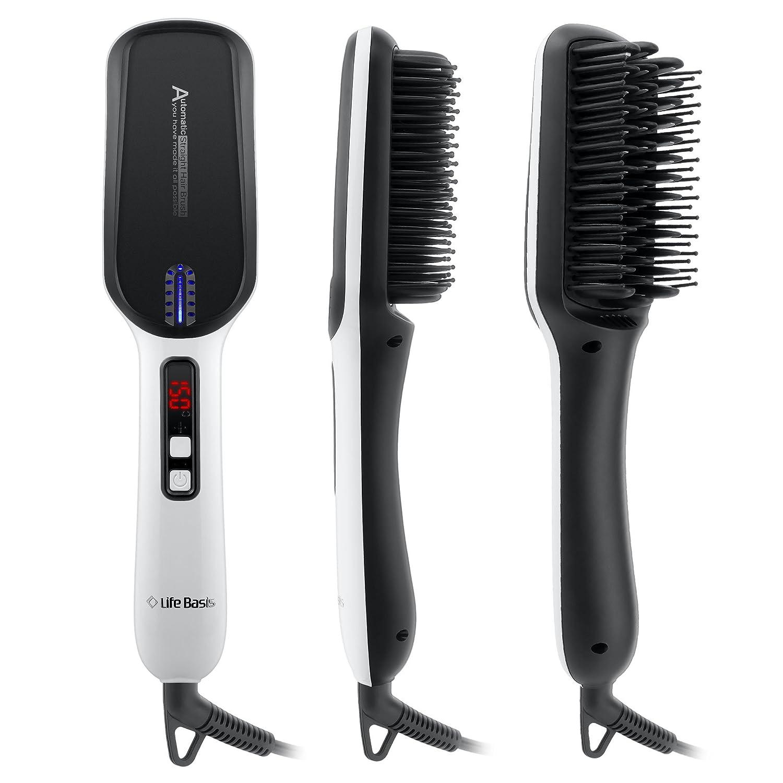 LifeBasis Cepillo aLisador con calor, cepillo alisador de cabello Cepillo que endereza los hierros que enderezan con la exhibición de LED 3 ajustes de calor ...