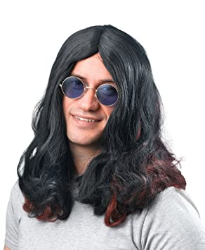 Long Black Wig Ozzy Osbourne Fancy Dress (peluca)