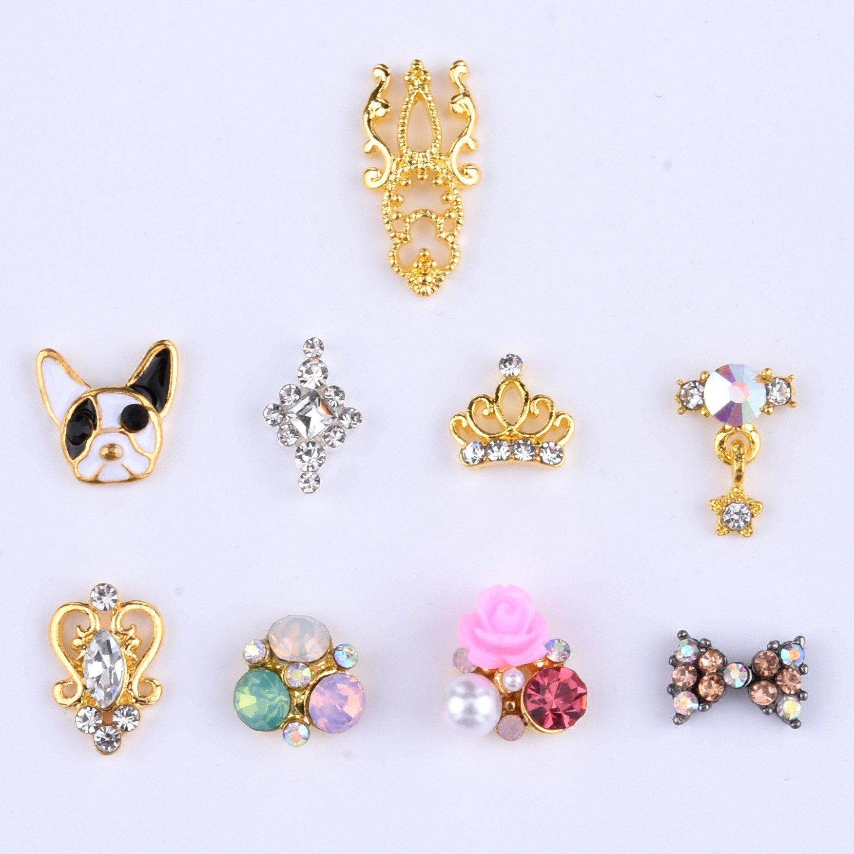 Amazon.com: Crystal Nail Decoration Bow Elegant Flower Jewelry ...