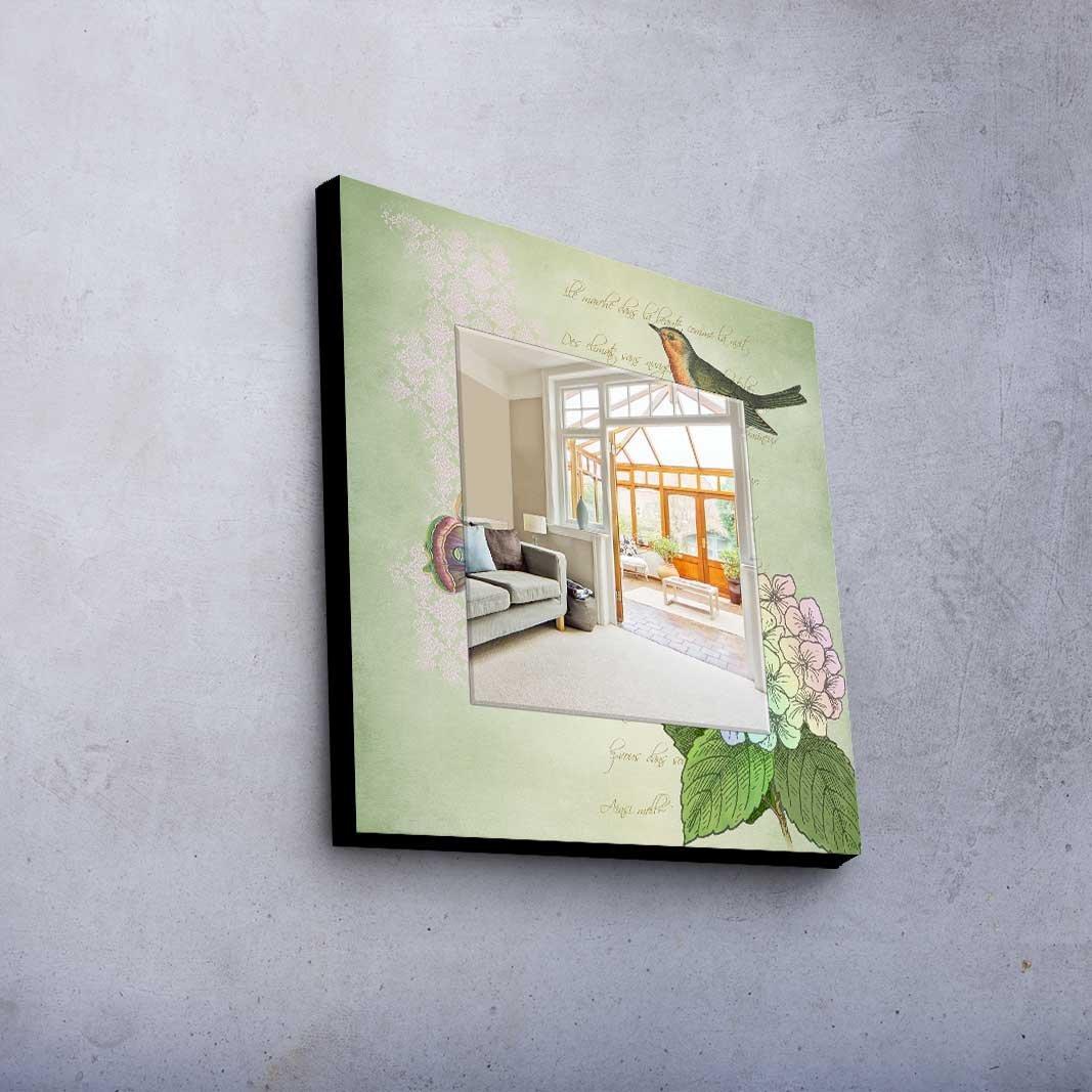 LaModaHome Home Decorative Real Mirror 100% MDF Framed (8'' Thickness) Wall Art Panel (20'' x 20'' Total) Bird Flower Animal Modern Design Pattern Ornamental Colourful