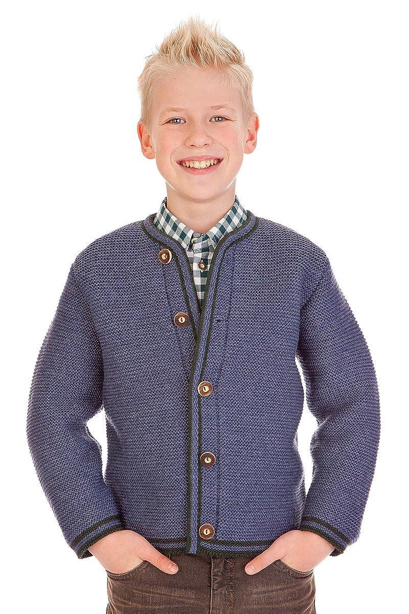 Trachten Kinder Strickjanker - J002 - dunkelbraun, grau, jeansblau, Größe 92 Größe 92 56.122/Fb. jeans