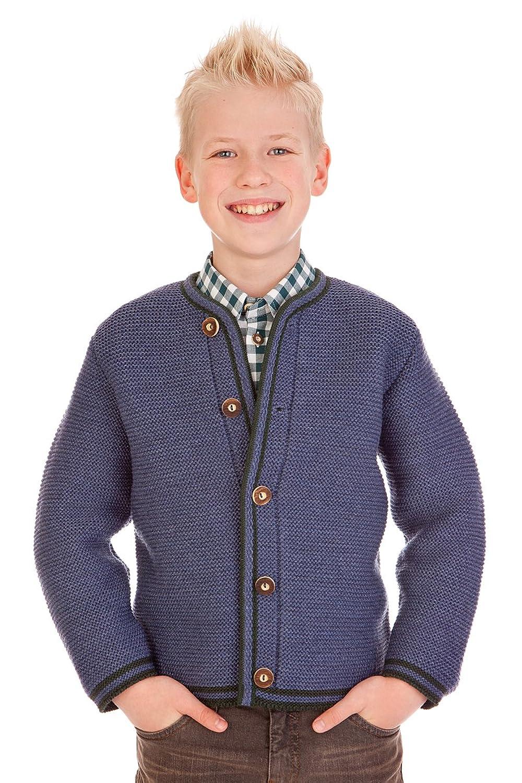 Trachten Kinder Strickjanker - J002 - dunkelbraun, grau, jeansblau