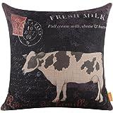 "LINKWELL 18""x18"" Retro Farm Fresh Milk Cow Home Decor Burlap Cushion Covers Pillow Case"