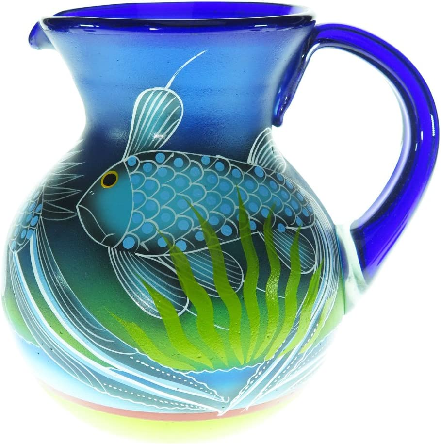 Mexican Glass Margarita or Ice Tea Pitcher, Hand Painted With Fish in the Blue Sea, 4 quarts