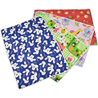 Nonibud® Baby's Cotton Plastic Sleeping Mat, Waterproof Foam Cushioned Changing Sheet (Multicolour, Large, 0 to 12 Months) -Set of 4