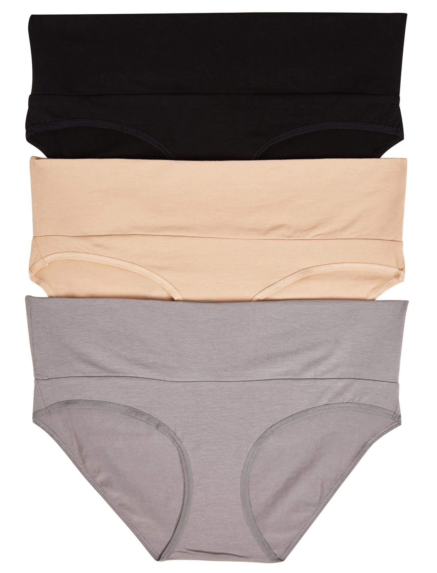 Motherhood Maternity Women's 3 Fold Over Brief Panties, Black, Nude, Flat Grey/Multi Pack, Large