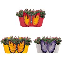 Nuha Metal Oval Butterfly Railing Planter - Railing Planter, Flower Pot, Wall Planter, Metal Planter, Balcony, Garden Planter