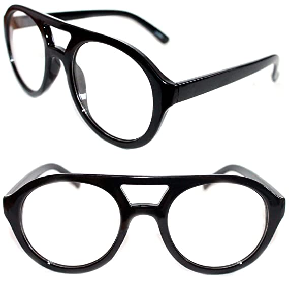 9ce99271af MEN S WOMEN S THICK FRAME ROUND SHAPE AVIATOR NERD EYE GLASS CLEAR LENS EYE  GLASSES