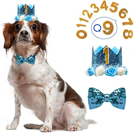 Dog Hat and Bowtie Dog Accessories Dog Party Crown and Bow Tie Set Dog Party