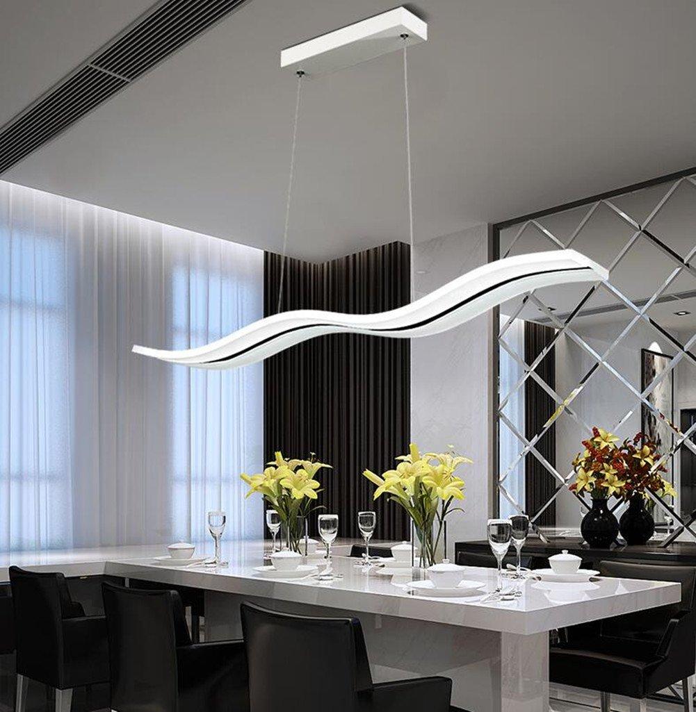 LED Pendelleuchte Dimmbar Moderne Kronleuchter Deckenleuchten Welle LED hängende Leuchte Höhenverstellbar Fernbedienung für Esszimmer Wohnzimmer Schlafzimme(Dimmbar mit Fernbedienung 36W) (Dimmar)