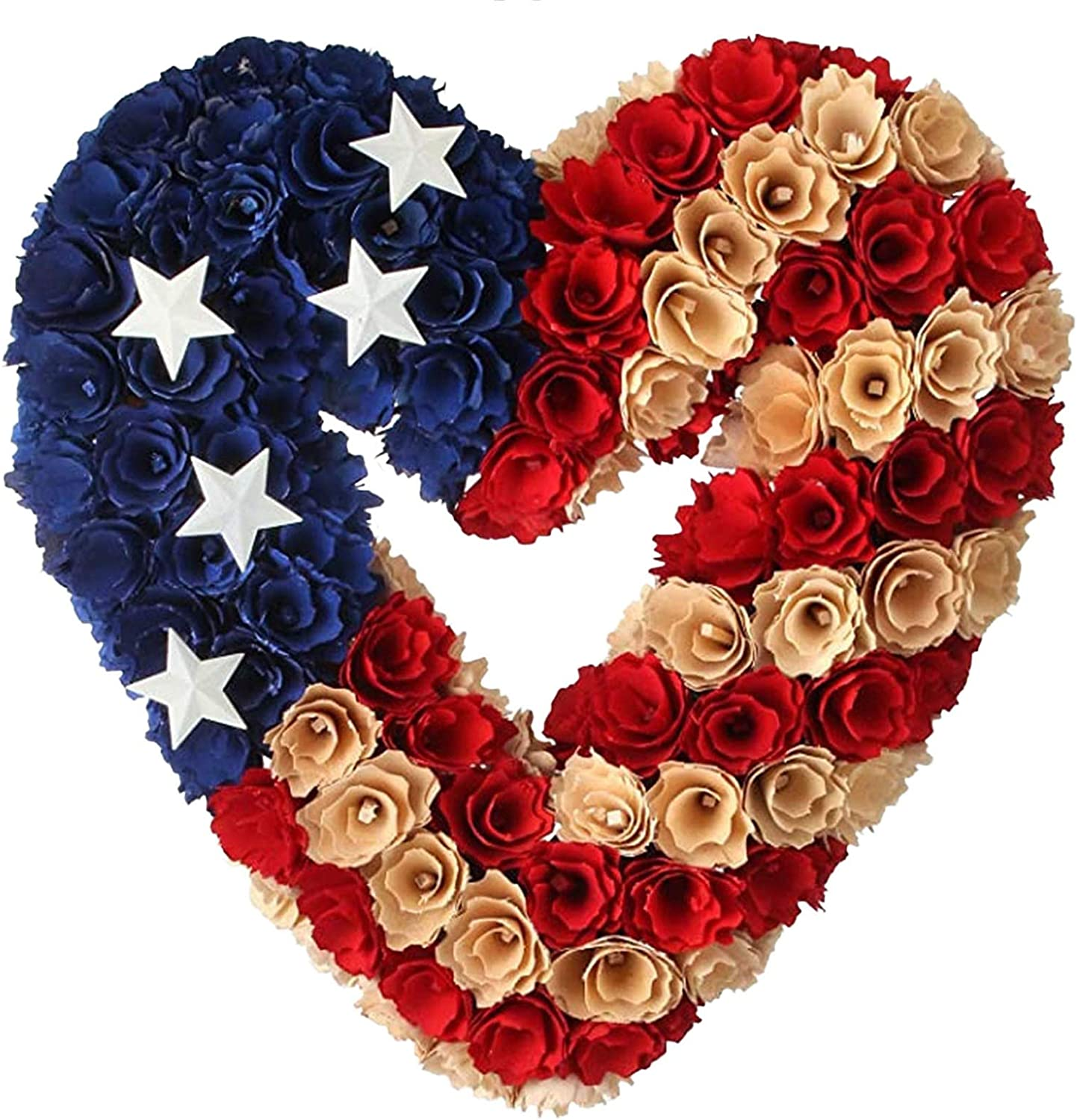 Patriotic Wreath for Front Door Outside, USA 4th of July Memorial Day Labor Day Cookout Liberty Decorative Wreath Wall Decor Multi for Indoor & Outdoor Bunting Wreaths