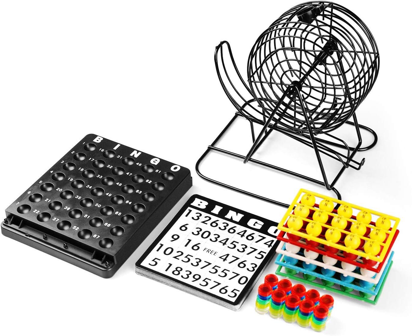 Bingofun Bingo Game Set with 8 Inch Metal Cage,75 Colored Balls with Plastic Masterboard,18 Bingo Cards,150 Bingo Chips for Fun