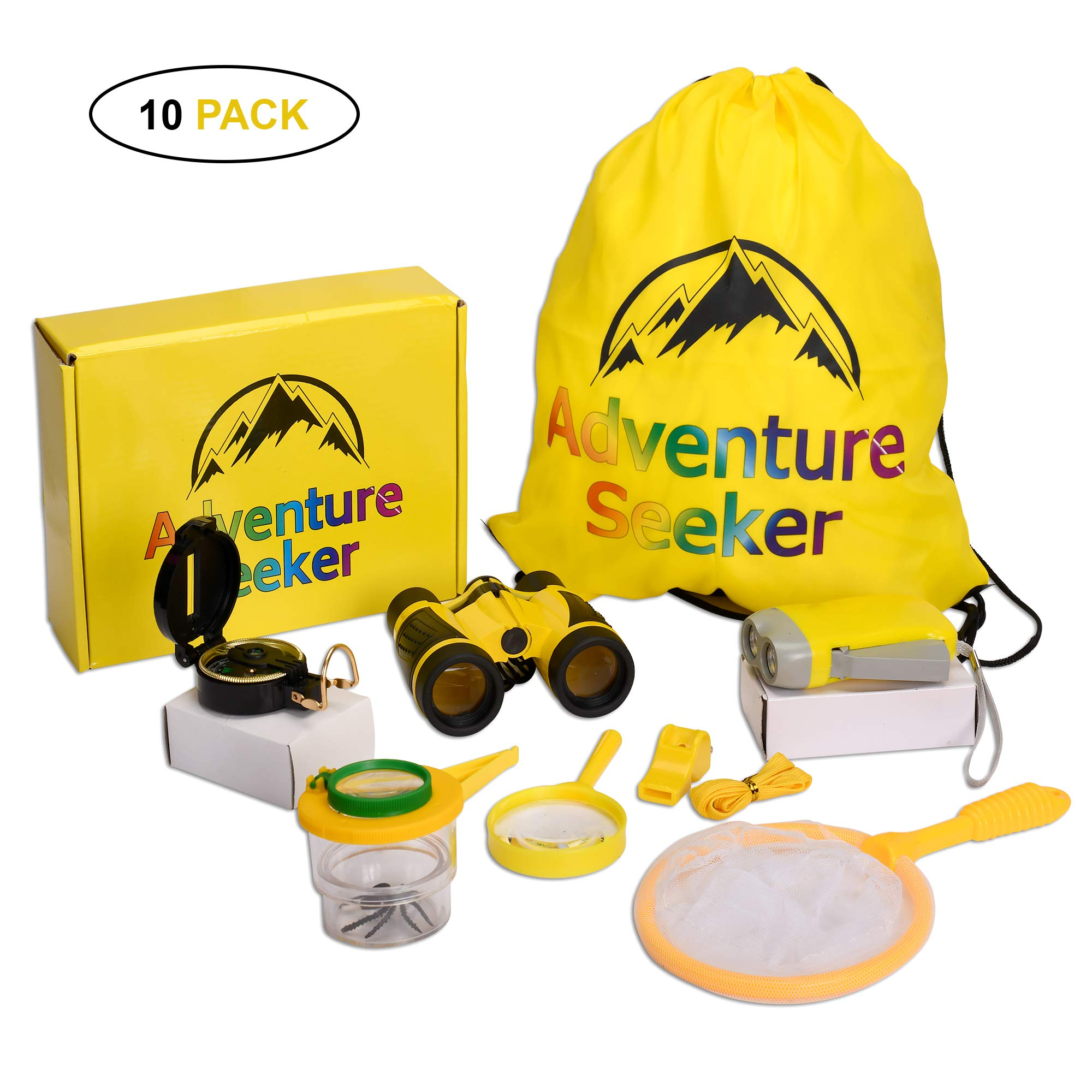 Adventure Kit for kids-Outdoor Exploration Kit-Toys Girls & Boys-Educational Toys Binoculars, Flashlight, Compass, Magnifying Glass, Butterfly Net, Whistle, Bug Collector, Pincers, Spider Toy & Bag