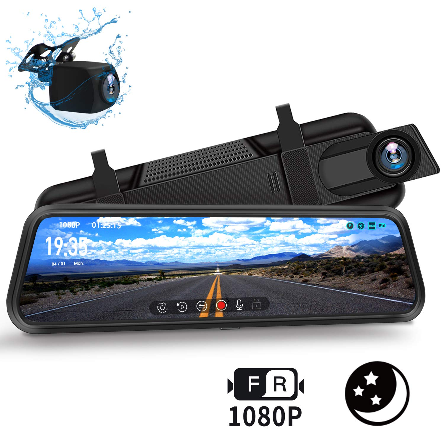DuDuBell Mirror Dash Cam, 10'' Backup Camera with Reverse Assistance, 1080P Front and Rear Cameras with Enhanced Night Vision, IPS Full Touch Screen Wide Angel HDR+ by DuDuBell