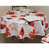 Soleil d'ocre Coquelicot Nappe Antitaches Ronde Polyester Rouge 180 cm