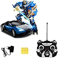 SUPER TOY Battery Operated Robot Races Car 2-in-1 Big Transform Car Toy with Bright Lights and Music (Multicolour)