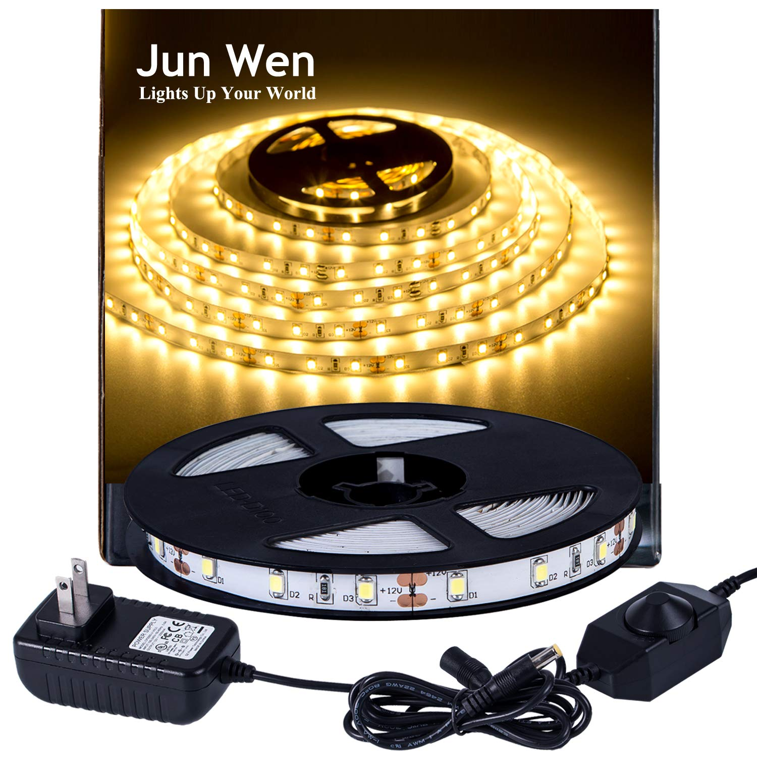 JUNWEN Flexible LED Strip Light Kit 3000K Warm White 16.4ft/5M 300 Units LED Tape SMD 2835 LEDs Non-Waterproof Dimmable LED Rope Lighting with 2A UL Listed Power Supply for Kitchen Car Bar Clubs