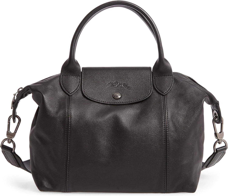 LongChamp Women's Le Pliage Black Leather Top Handle Leather Tote Handbag  Medium