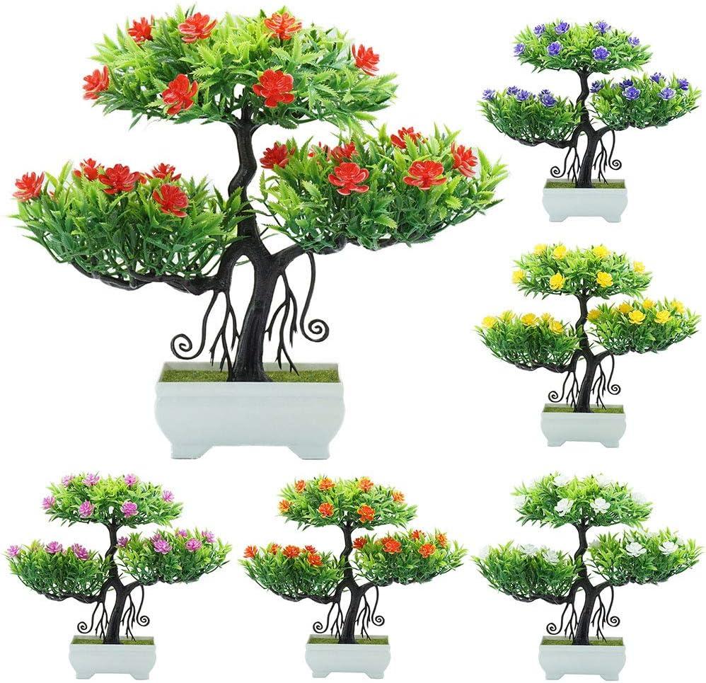 Amazon Com Cuiedailqhb Artificial Bonsai Artificial Flower Plant Tree Potted Bonsai Office Garden Party Desktop Ornament Rose Red Home Kitchen