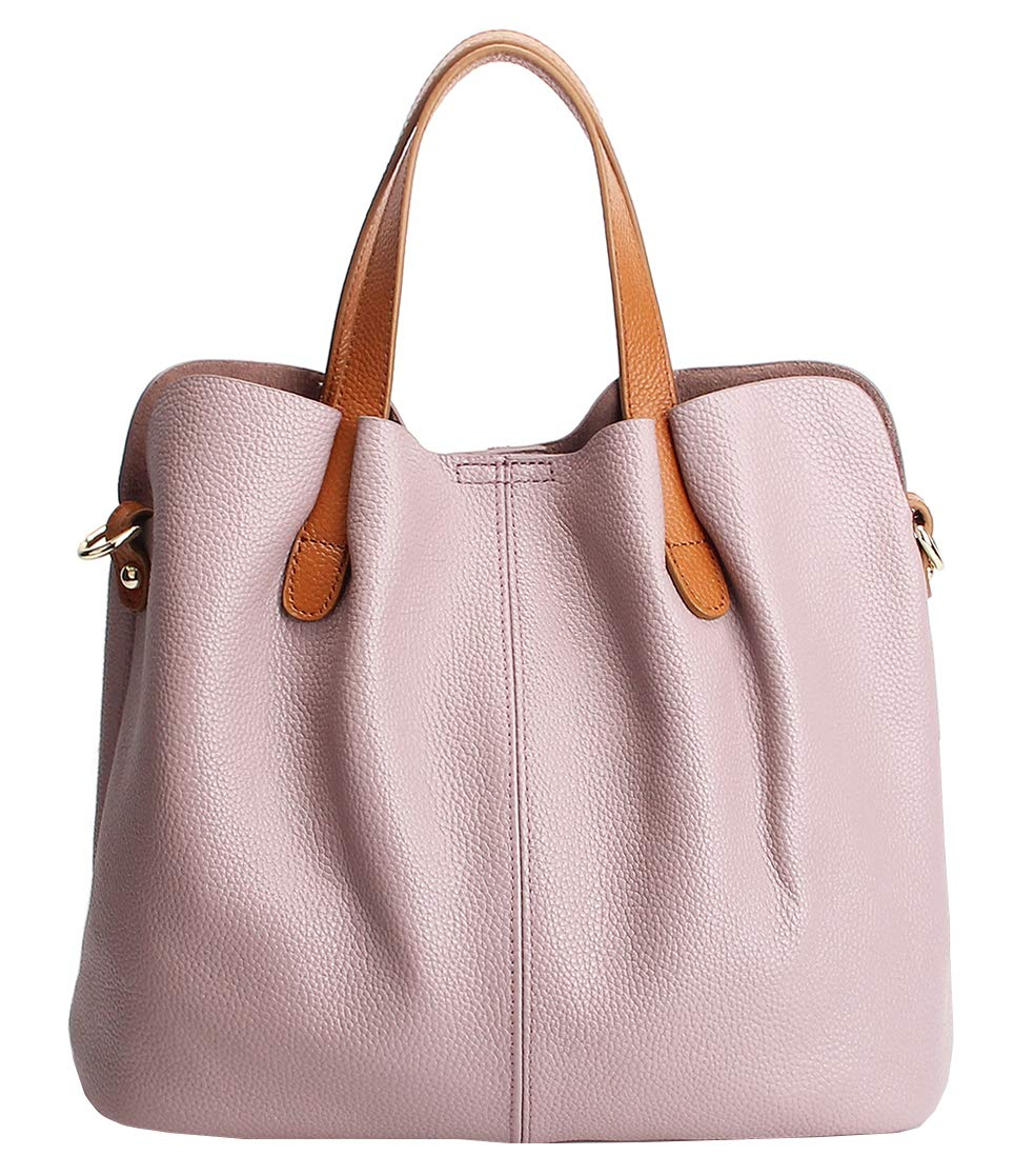 Molodo Womens Satchel Hobo Top Handle Tote Geuine Leather Handbag Shoulder Purse,Pink,X-Large