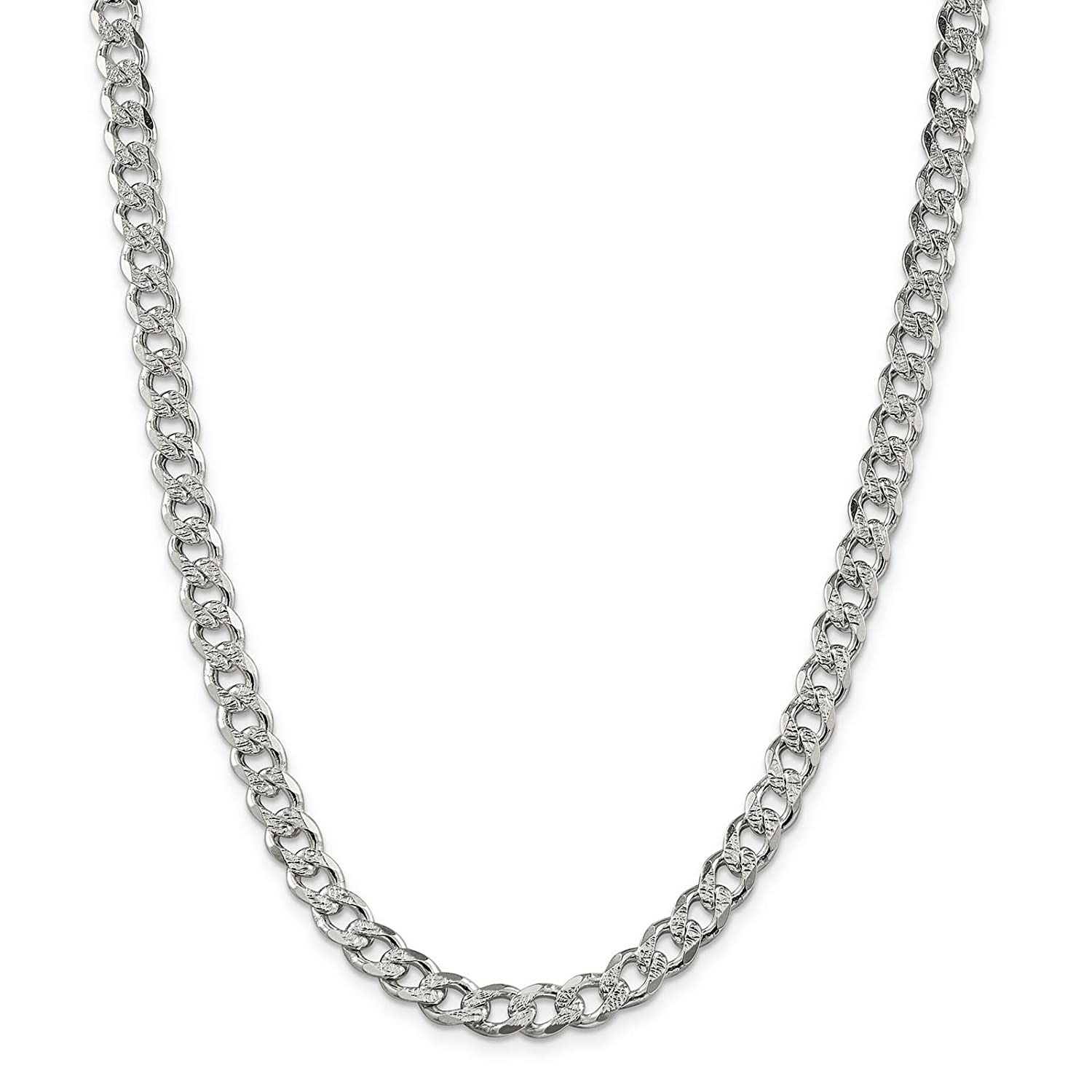 925 Sterling Silver 7.5mm Solid Polished Pave Curb Link Chain Necklace 7-24