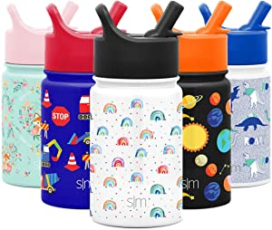 Simple Modern 10oz Summit Kids Water Bottle Thermos with Straw Lid - Dishwasher Safe Vacuum Insulated Double Wall Tumbler Travel Cup 18/8 Stainless Steel - Rainbow Dream