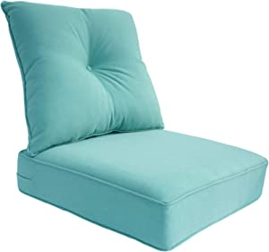 Bossima Indoor/Outdoor Deep Seat Chair Cushion Set,Spring/Summer Seasonal Replacement Cushions (Olefin Light Blue)