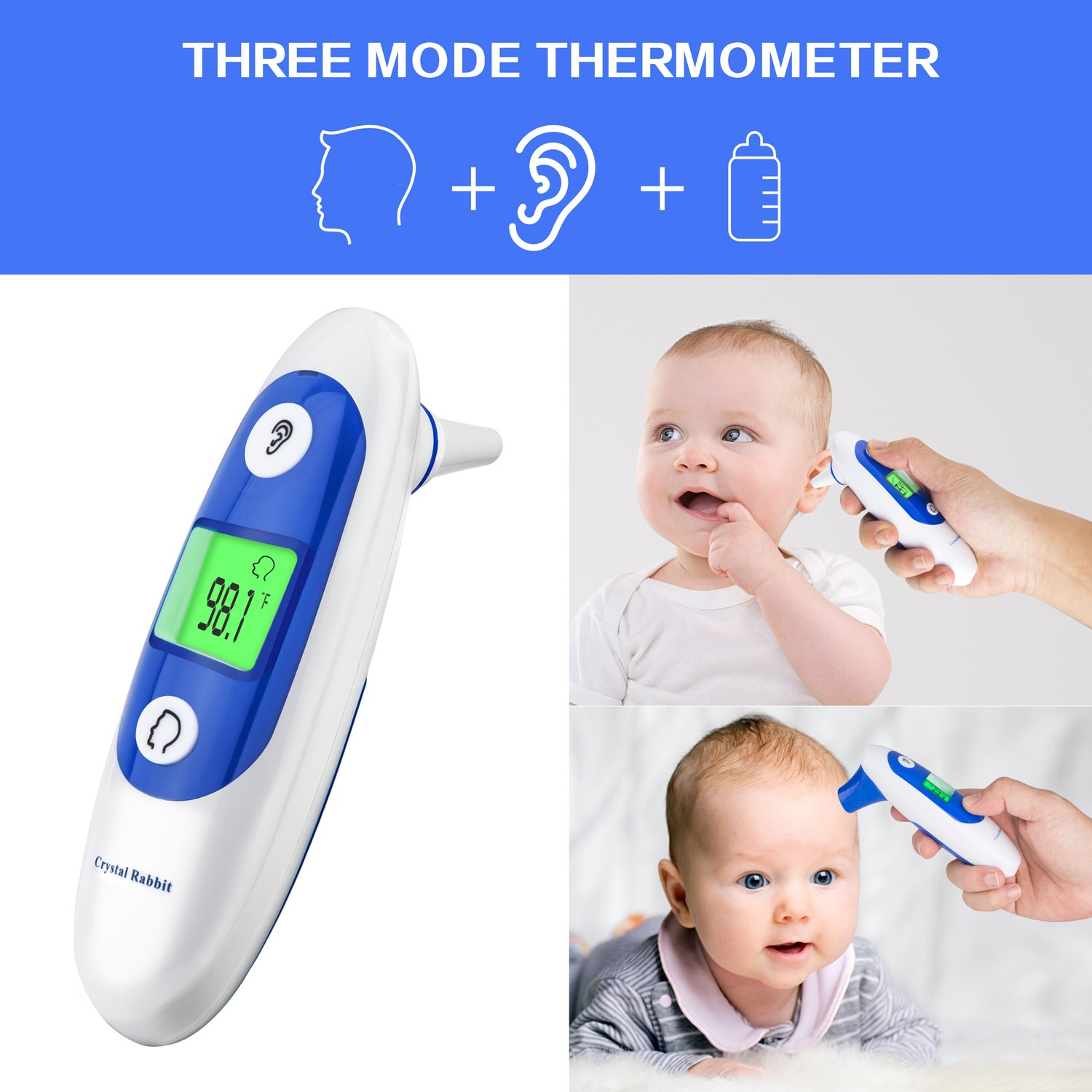 Medical Forehead and Ear Thermometer, Crystal Rabbit Infrared Digital Thermometer Suitable for Baby, Infant, Toddler and Adults with FDA and CE Approved by Crystal Rabbit (Image #4)