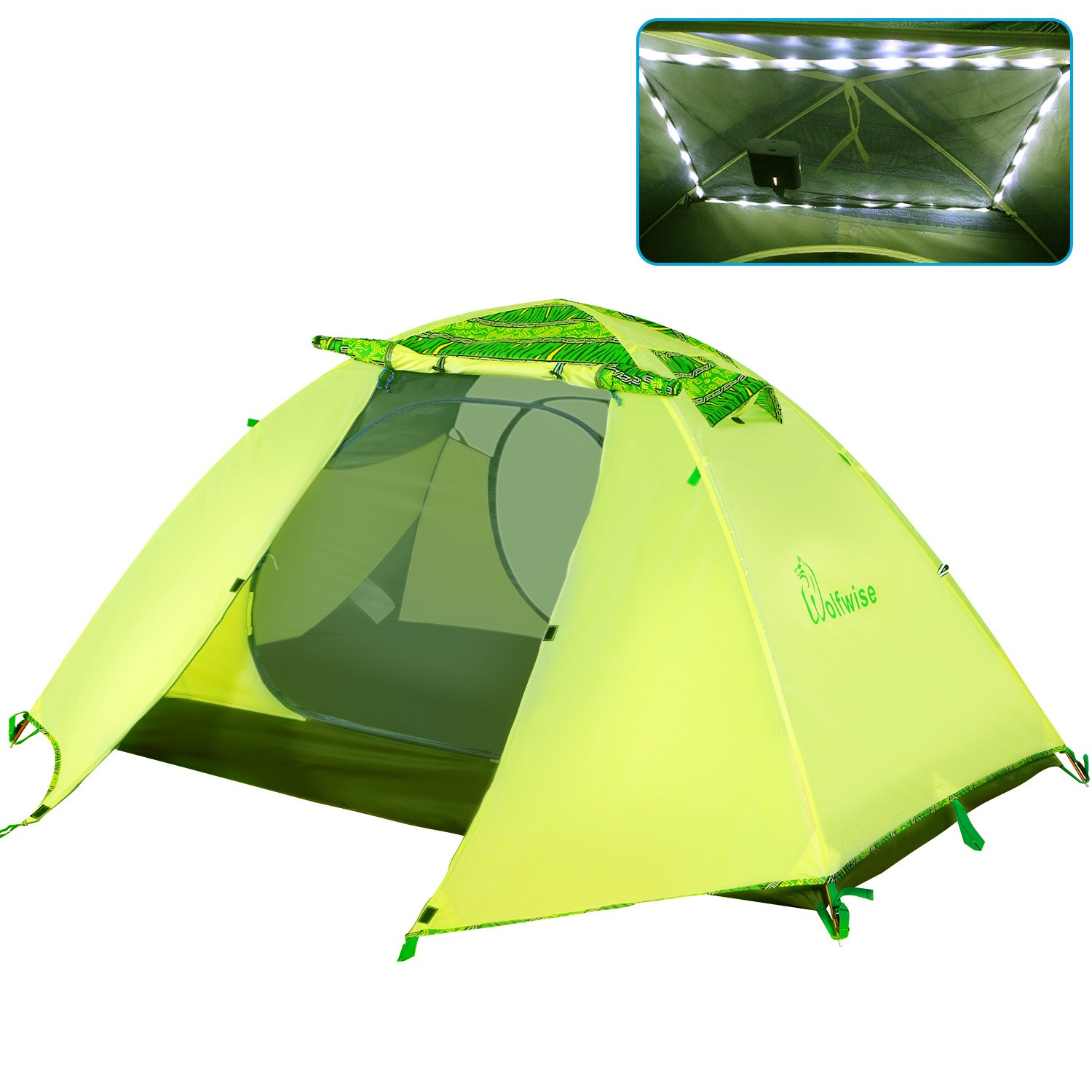 wolfwise 2 Person 4 Season Lightweight Backpacking Tent with USBのLEDメッシュキャノピー  グリーン B01LH1RT7C