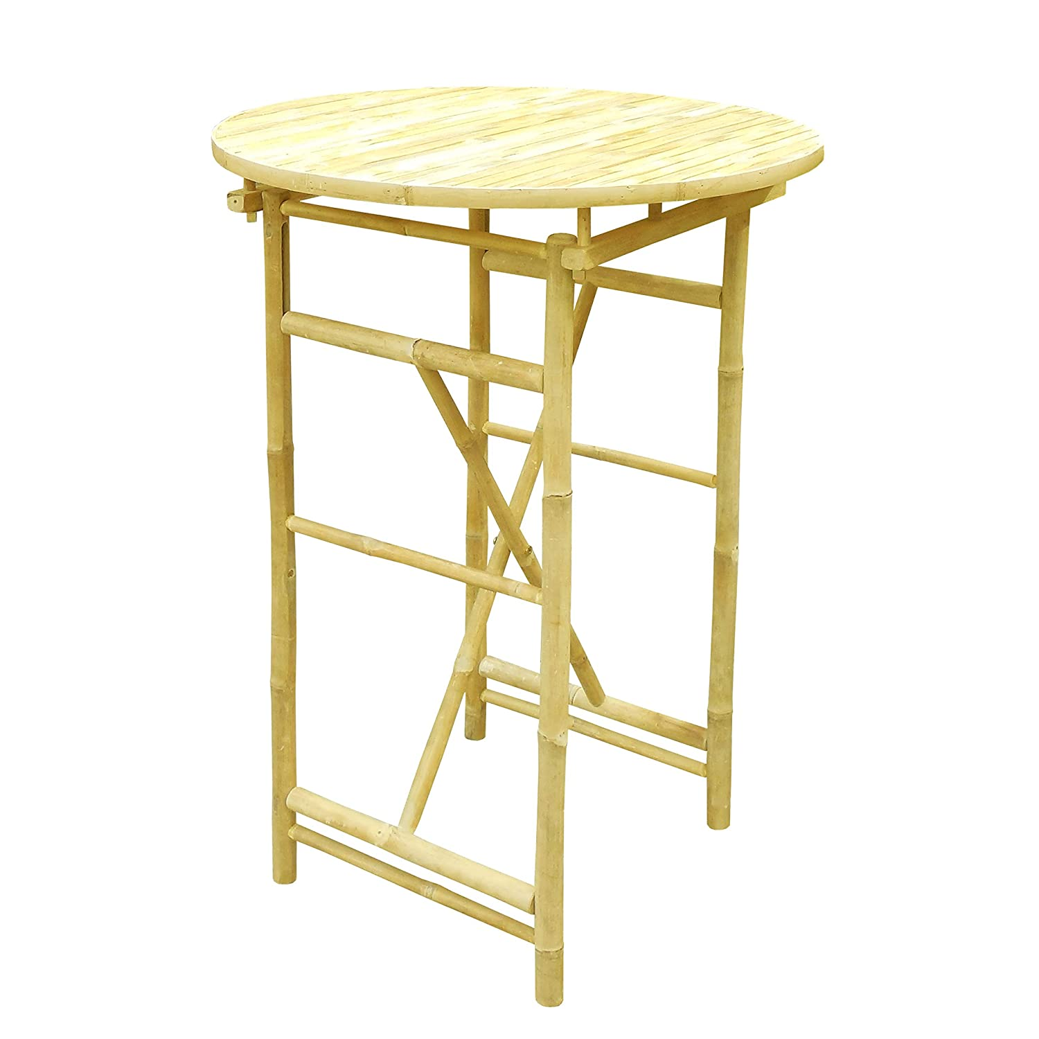 Natural Color 41 H x 30 W x 30 D Statra TA-265-00 Bar Height Folding Bamboo Round Table