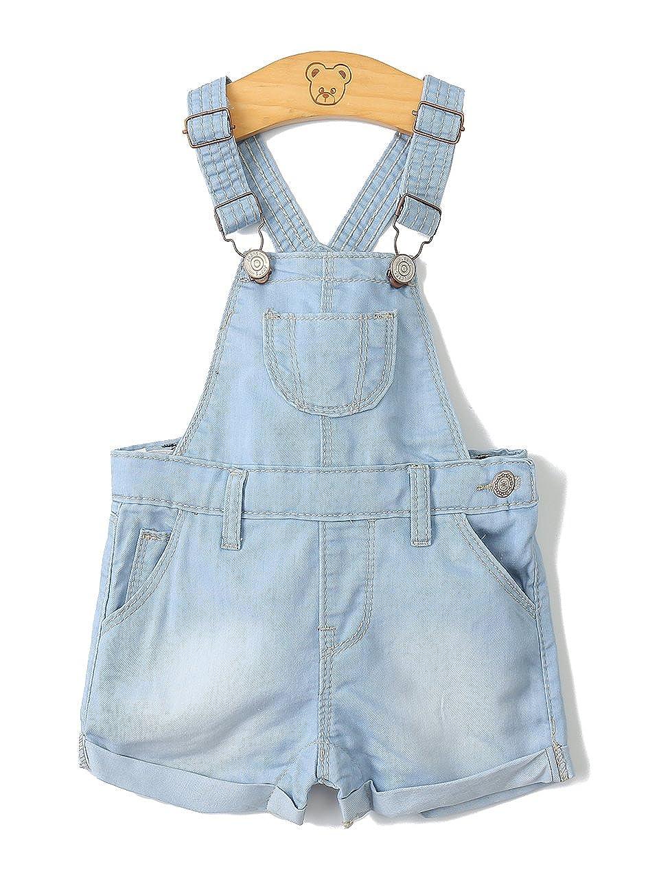 Kidscool Baby /& Toddler Girls//Boys Big Bibs Ripped Hole Summer Jeans Shortalls,Light Blue,2-3 Years