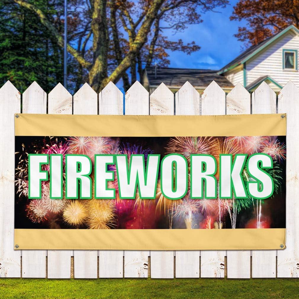 Multiple Sizes Available 28inx70in Set of 2 Vinyl Banner Sign Fireworks #1 Style F Retail Fireworks Marketing Advertising White 4 Grommets