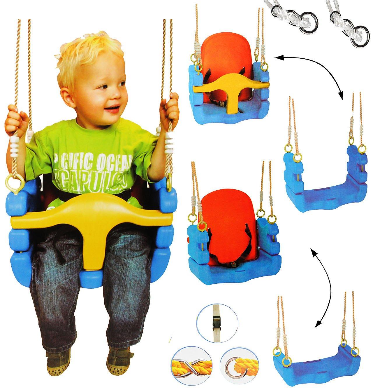 alles-meine.de GmbH mitwachsende - Babyschaukel / Gitterschaukel mit Gurt - Incl. Name - Kindersch..