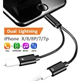 2-in-1 Lightning Splitter Adapter for iPhone 7 / 8 / X / 7 plus / 8 plus, Double lightning ports for dual Lightning Headphone Audio and Charge Adapter. (Compatible IOS 10.3, IOS 11 and Later)-Black