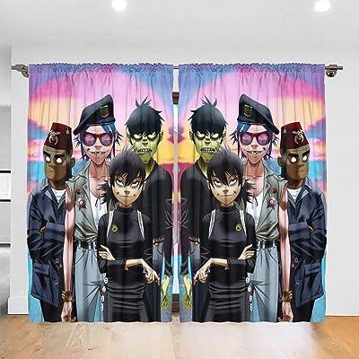 Gori-llaz Printed Curtains Blackout for Bedroom Living Room Kids Room Dining Room Valance Colorful Window Drapes 2 Panel Set Rod Pocket One Size: Home & Kitchen
