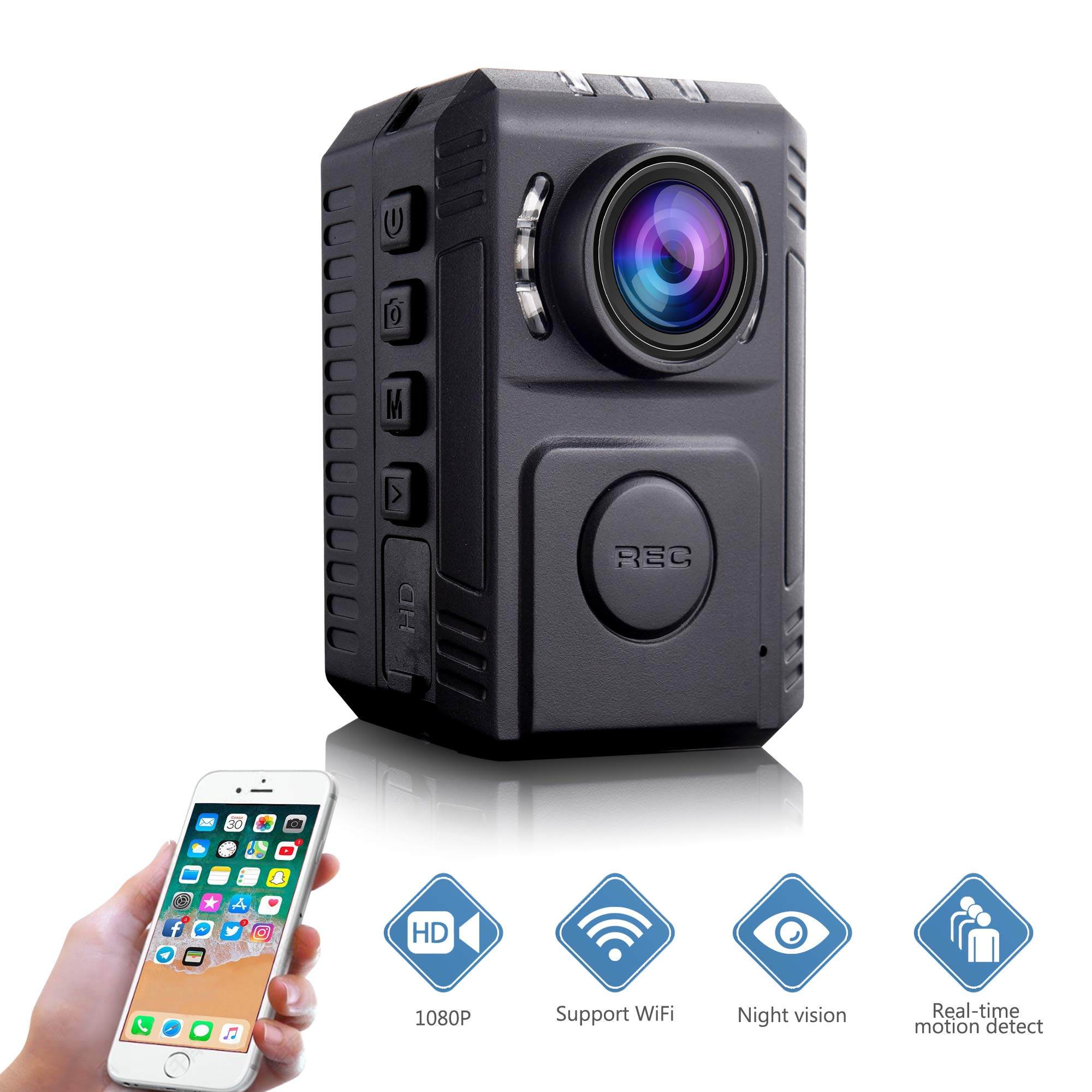 Mini Body Amount Camera - Wireless Person Wearable Camera, Portable HD Body Worn Camera, Surveillance Night Vision Pocket Camera with Phone App for Outdoor/Indoor - Hiking/Hunting/Camping/Marathon