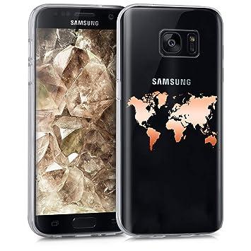 kwmobile Funda para Samsung Galaxy S7 - Carcasa Protectora de [TPU] con diseño de Mapa del Mundo en [Oro Rosa/Transparente]