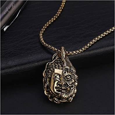 Lugeec Men Double Sided Buddha Head Pendants Necklaces Party Hip Hop Jewelry Metal Alloy Necklace Gift N173 1 Amazon Com