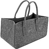 Shopping basket Dark Gray Bag Firewood Storage Bag Newspaper Rack Newspaper Basket Large Capacity Felt Handbag Shopping…