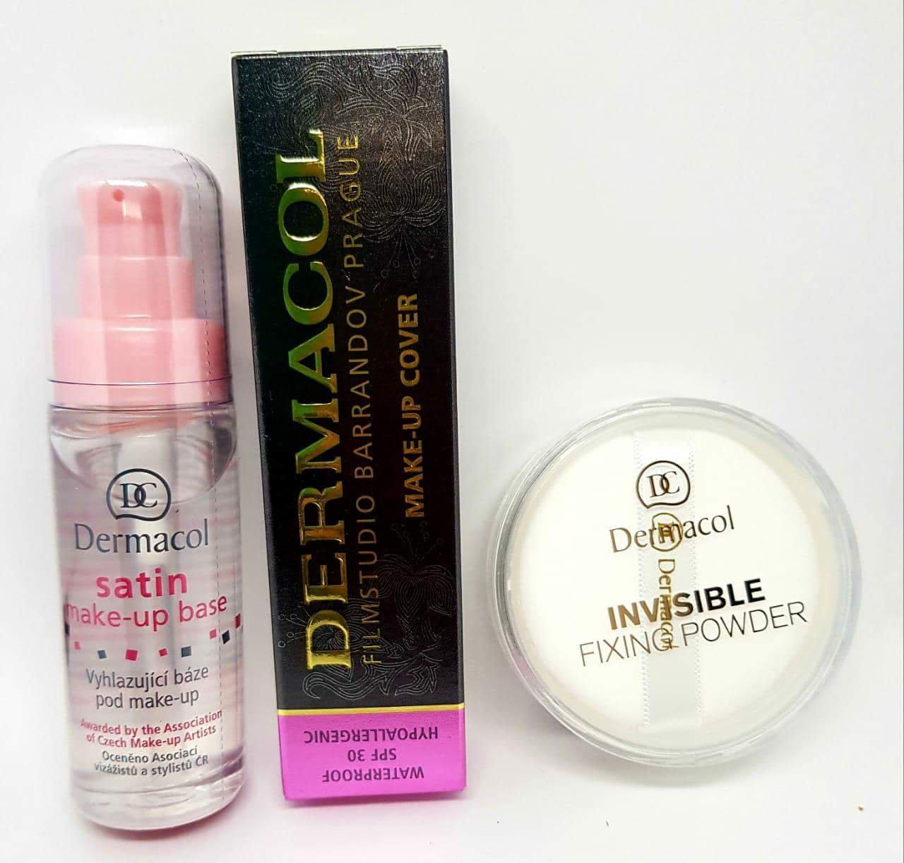 KIT Dermacol Make-up Cover foundation + Primer Satin make up base 30ml + Invisible Fixing Powder White BUNDLE (SHADE 211) 3 items FULL SIZE DERMACOL 100% ORIGINAL Guarantee