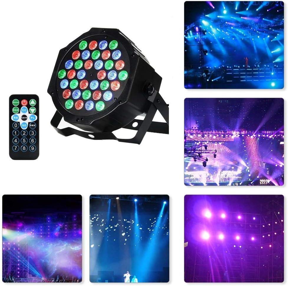 WSXXN Iluminación LED PAR 36 Luces de discoteca con luces DMX RGB Wash 7 modos de iluminación remoto inalámbrico for la fiesta de boda DJ de club de Halloween Luz de Navidad