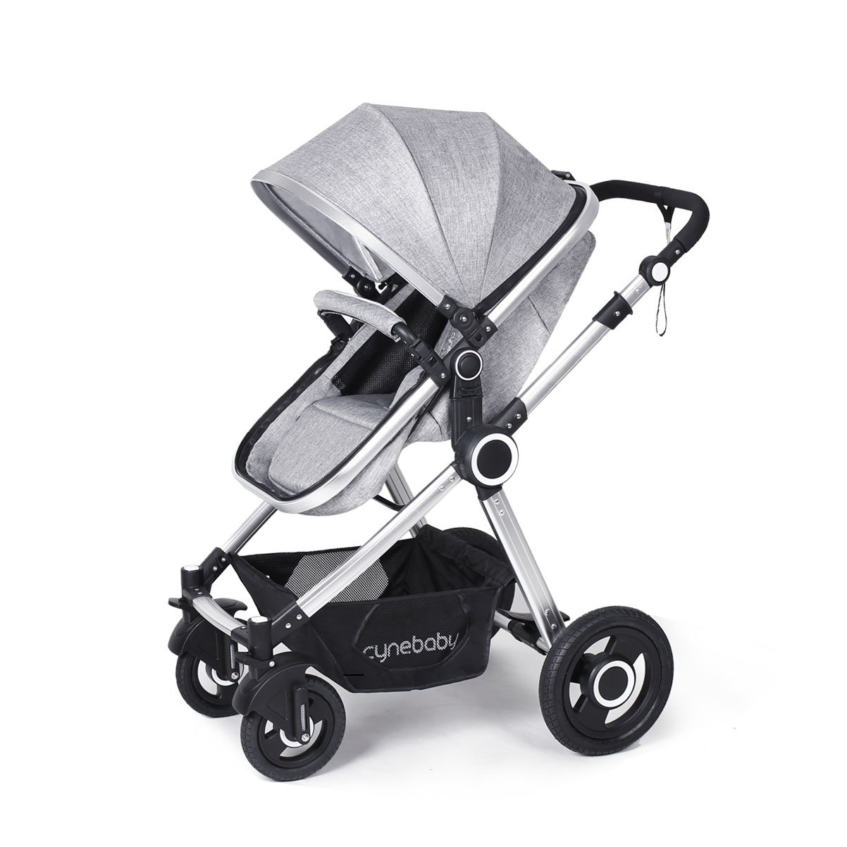 Toddler Stroller Folding Convertible Carriage Infant Anti-Shock High View Luxury Baby Stroller Newborn Pram Stroller Pushchair Stroller for Babies(Grey)