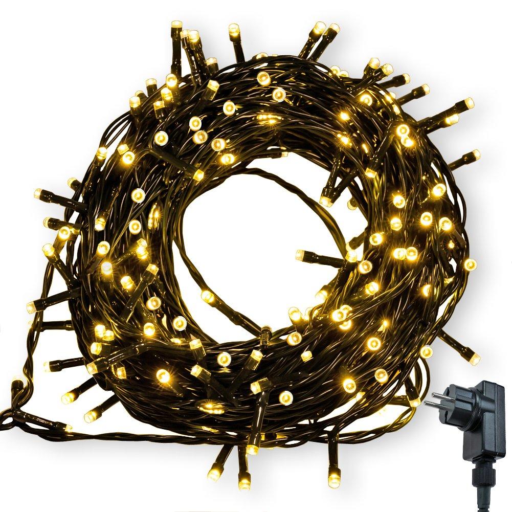 Cadena de Luces WISD 102.8M 1000 LED Blanco Cálido Guirnalda de Luz Impermeable con 8 Modos y Función de Memoria, Cable de Color Verde Oscuro, Perfecto para Exterior e Interior, Navidad Fiestas Boda Jardín Dormitorio