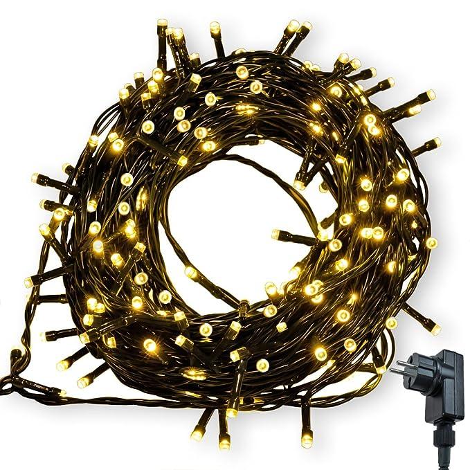 Lichterkette WISD 200 LED 22.8M Warmweiss Innen und Außen LED Beleuchtung mit EU Stecker auf Dunkelgrün Kabel für Weihnachten