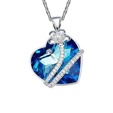 Oven Moda® Or Blanc Plaqué Argent Swarovski Eléments Cristal Coeur Bleu  Femmes Pendentif Avec Fleur 9b0d95f17b3b