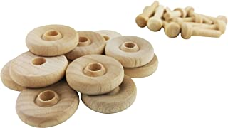 "product image for Wood Wheels - 24 Pack with Free Axle Pegs - Made in USA (.75"" Diameter)"