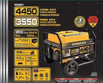Firman Power Equipment P03501 Gas Powered 3550/4450 Watt