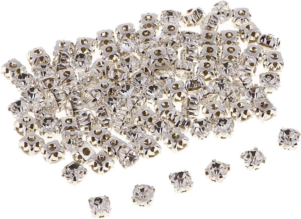 100x Flatback Brillo Piedras Cristal Piedras Preciosas Estrás para Coser 6 Mm Elaboración de Puntadas para Coser en Ropa Deco - 5 mm blanco